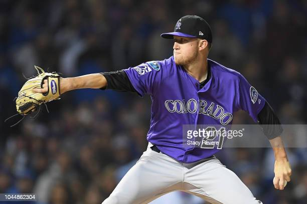 Kyle Freeland of the Colorado Rockies pitches in the fourth inning against the Chicago Cubs during the National League Wild Card Game at Wrigley...
