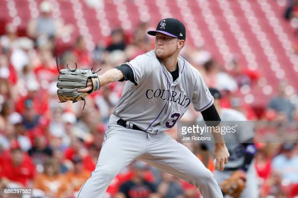 Kyle Freeland of the Colorado Rockies pitches in the second inning of a game against the Cincinnati Reds at Great American Ball Park on May 21 2017...