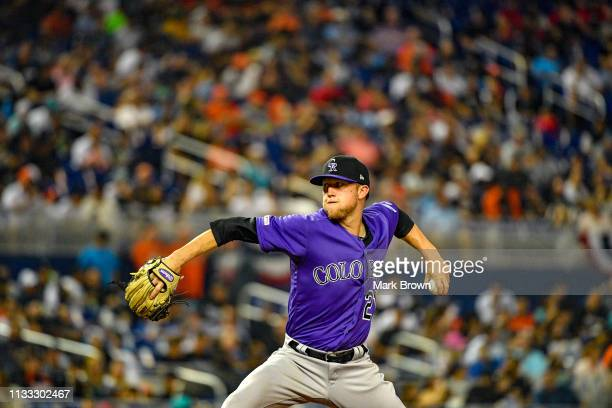 Kyle Freeland of the Colorado Rockies pitching in the fifth inning against the Miami Marlins during Opening Day at Marlins Park on March 28 2019 in...
