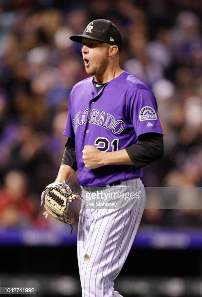 Kyle Freeland of the Colorado Rockies reacts to Trea Turner of the Washington Nationals grounding out to end the sixth inning at Coors Field on...