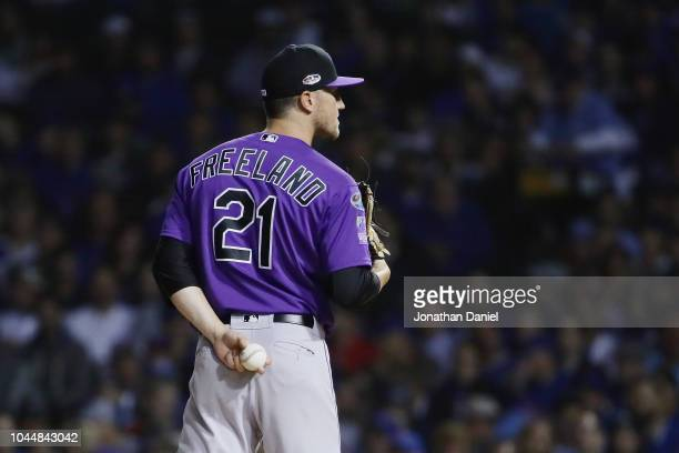 Kyle Freeland of the Colorado Rockies stands on the pitcher's mound in the first inning against the Chicago Cubs during the National League Wild Card...