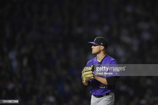 Kyle Freeland of the Colorado Rockies stands on the pitcher's mound in the fourth inning against the Chicago Cubs during the National League Wild...
