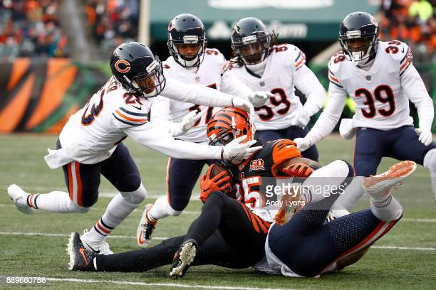 Kyle Fuller and the Chicago Bears tackle Giovani Bernard of the Cincinnati Bengals during the second half at Paul Brown Stadium on December 10 2017...
