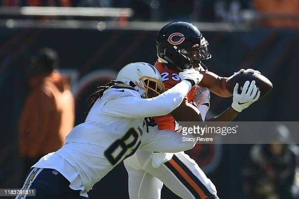 Kyle Fuller of the Chicago Bears intercepts a pass intended for Mike Williams of the Los Angeles Chargers during the first quarter of a game at...