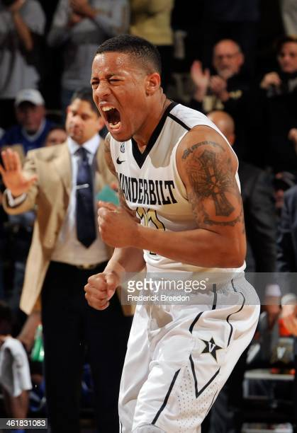 Kyle Fuller of the Vanderbilt Commodores reacts after scoring a basket against the Kentucky Wildcats at Memorial Gym on January 11 2014 in Nashville...