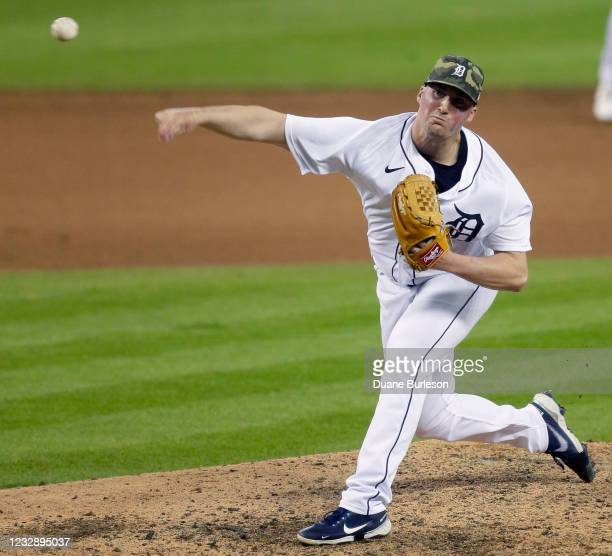 Kyle Funkhouser of the Detroit Tigers pitches against the Chicago Cubs during the eighth inning at Comerica Park on May 14 in Detroit, Michigan.
