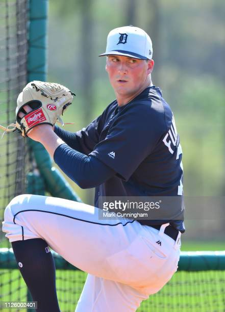 Kyle Funkhouser of the Detroit Tigers pitches during Spring Training workouts at the TigerTown Facility on February 19 2019 in Lakeland Florida