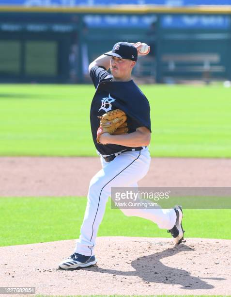 Kyle Funkhouser of the Detroit Tigers pitches during the Detroit Tigers Summer Workouts at Comerica Park on July 18, 2020 in Detroit, Michigan.