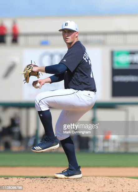 Kyle Funkhouser of the Detroit Tigers pitches during the Spring Training game against the Southeastern University Fire at Publix Field at Joker...