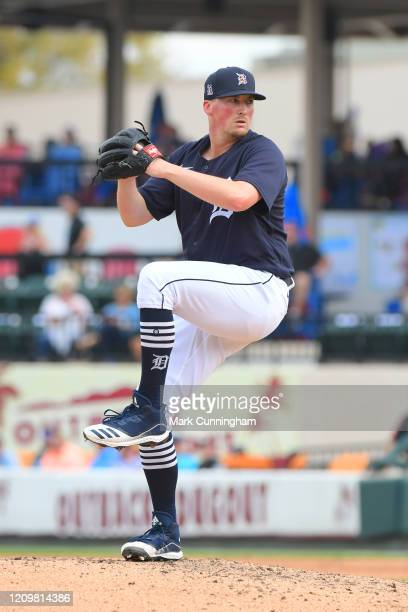 Kyle Funkhouser of the Detroit Tigers pitches during the Spring Training game against the New York Mets at Publix Field at Joker Marchant Stadium on...