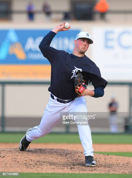 Kyle Funkhouser of the Detroit Tigers pitches during the Spring Training game against the Pittsburgh Pirates at Publix Field at Joker Marchant...