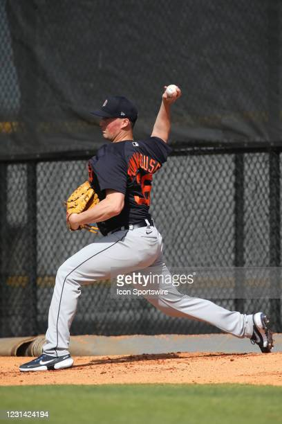 Kyle Funkhouser of the Tigers throws a bullpen session during the Detroit Tigers spring training workout on February 27, 2021 at Tigertown in...