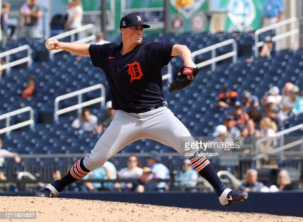 Kyle Funkhouser throws the ball against the Detroit Tigers of the Houston Astros during a spring training game at the FITTEAM Ballpark of the Palm...