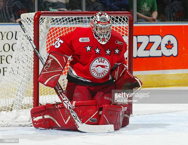 Kyle Gajewski of the Sault Ste Marie Greyhounds makes a save against the London Knights in game 7 of the Western Conference Semifinal on April 16...