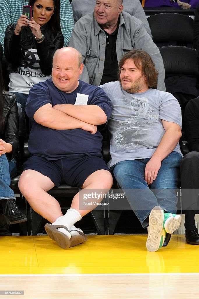 Kyle Gass (L) and Jack Black attend a basketball game between the Indiana Pacers and the Los Angeles Lakers at Staples Center on November 27, 2012 in Los Angeles, California.
