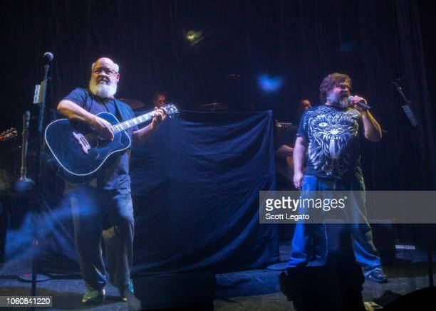 Kyle Gass and Jack Black of Tenacious D perfom during the Post Apocalypto Tour at The Fillmore on November 12 2018 in Detroit Michigan