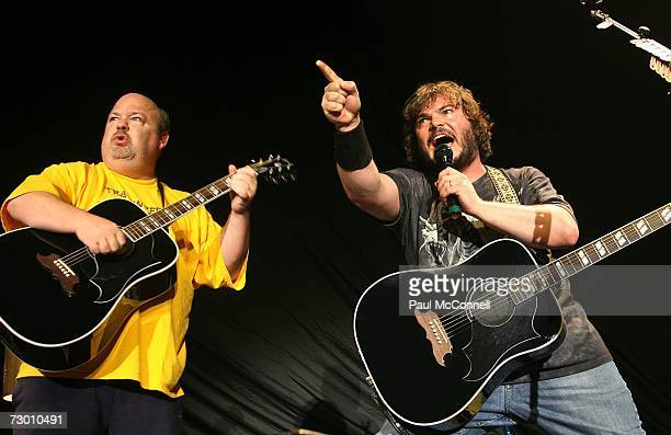 Kyle Gass and Jack Black of Tenacious D perform on stage at the Hordern Pavilion on January 16 2007 in Sydney Australia