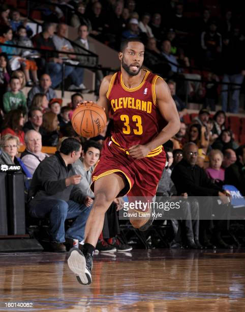 Kyle Gibson of the Canton Charge drives to the basket against the Iowa Energy at the Canton Memorial Civic Center on January 26 2013 in Canton Ohio...