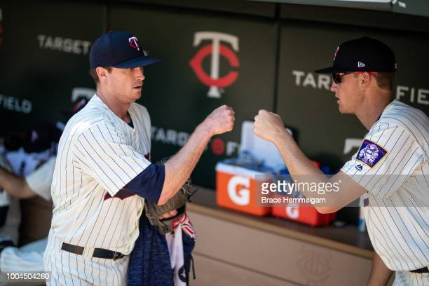 Kyle Gibson of the Minnesota Twins with Aaron Slegers prior to the game against the Baltimore Orioles on July 7 2018 at Target Field in Minneapolis...