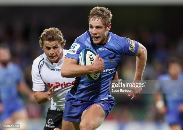 Kyle Godwin of the Force runs away to score a try during the round 14 Super Rugby match between the Force and the Sharks at nib Stadium on May 17...