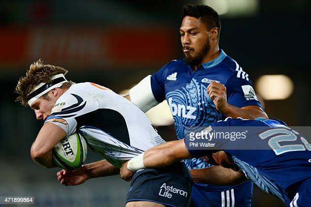 Kyle Godwin of the Western Force is tackled during the round 12 Super Rugby match between the Blues and the Force at Eden Park on May 2, 2015 in...