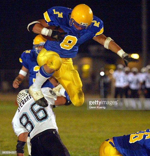 Kyle Gran of La Mirada takes to the air in the first quarter during a high school football game between Aliso Niguel and La Mirada in the first round...