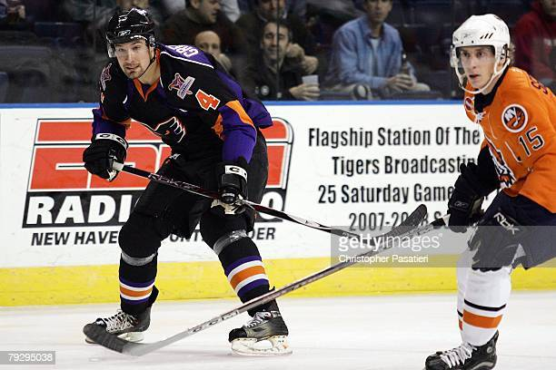 Kyle Greentree of the Philadelphia Phantoms skates during the second period against the Bridgeport Sound Tigers on January 23, 2008 at the Arena at...