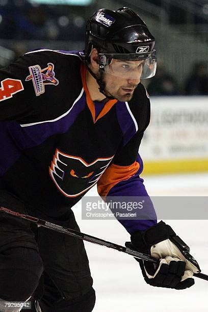 Kyle Greentree of the Philadelphia Phantoms waits for a face off during the second period against the Bridgeport Sound Tigers on January 23, 2008 at...