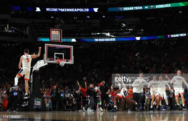 Kyle Guy and The Virginia Cavaliers celebrate their teams 85-77 win over the Texas Tech Red Raiders to win the the 2019 NCAA men's Final Four...
