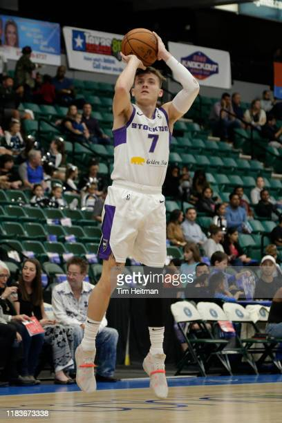 Kyle Guy of the Stockton Kings shoots the ball in the first half against the Texas Legends on November 20, 2019 at Comerica Center in Frisco, Texas....