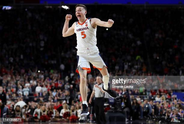 Kyle Guy of the Virginia Cavaliers celebrate his teams 8577 win over the Texas Tech Red Raiders to win the the 2019 NCAA men's Final Four National...