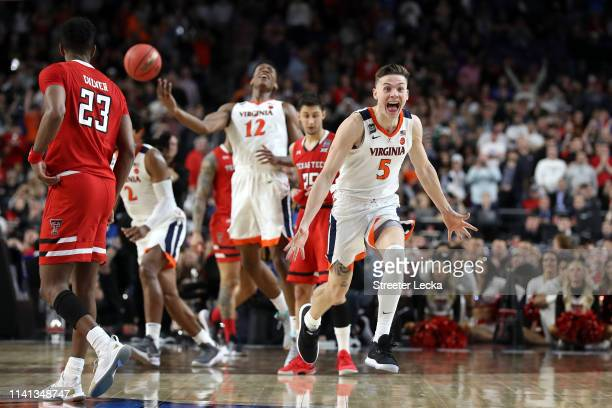 Kyle Guy of the Virginia Cavaliers celebrate his teams 85-77 win over the Texas Tech Red Raiders to win the the 2019 NCAA men's Final Four National...