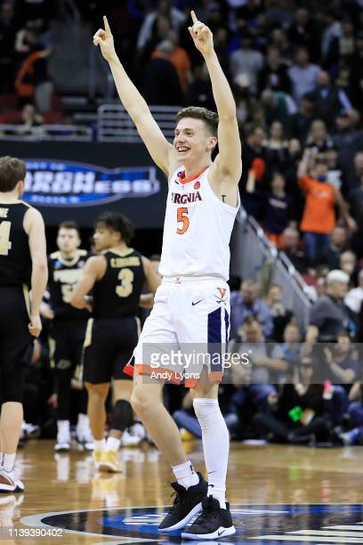 Kyle Guy of the Virginia Cavaliers celebrates after defeating the Purdue Boilermakers 8075 to advance to the Final Four in overtime of the 2019 NCAA...