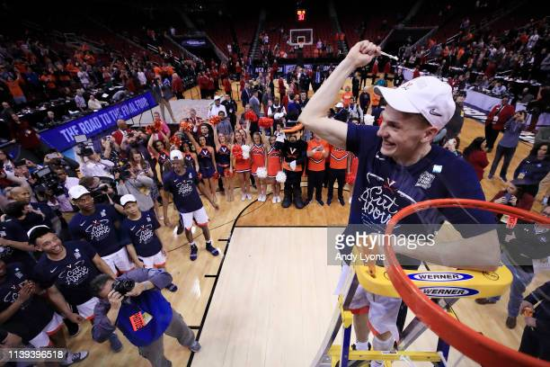 Kyle Guy of the Virginia Cavaliers celebrates after defeating the Purdue Boilermakers 80-75 in overtime of the 2019 NCAA Men's Basketball Tournament...
