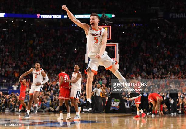 Kyle Guy of the Virginia Cavaliers celebrates after defeating the Texas Tech Red Raiders in the 2019 NCAA Photos via Getty Images men's Final Four...