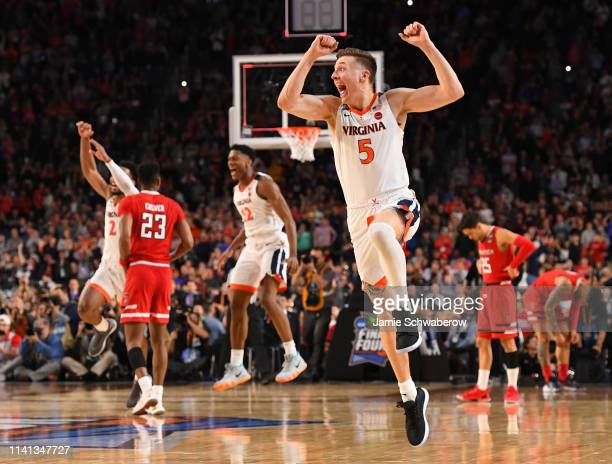 Kyle Guy of the Virginia Cavaliers celebrates against the Texas Tech Red Raiders in the 2019 NCAA Photos via Getty Imagess via Getty Images men's...