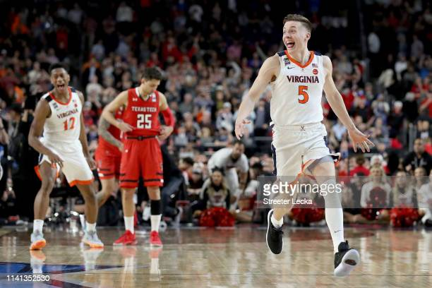 Kyle Guy of the Virginia Cavaliers celebrates his teams 85-77 win over the Texas Tech Red Raiders to win the the 2019 NCAA men's Final Four National...