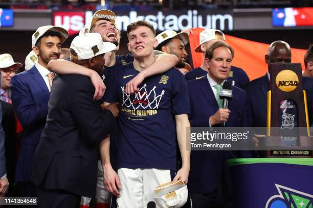 Kyle Guy of the Virginia Cavaliers celebrates his teams 8577 win over the Texas Tech Red Raiders to win the the 2019 NCAA men's Final Four National...