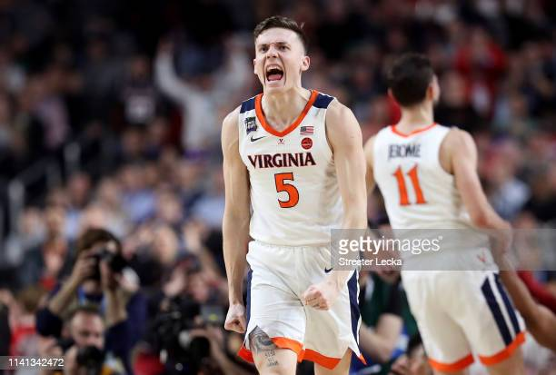 Kyle Guy of the Virginia Cavaliers celebrates the play against the Texas Tech Red Raiders in the second half during the 2019 NCAA men's Final Four...