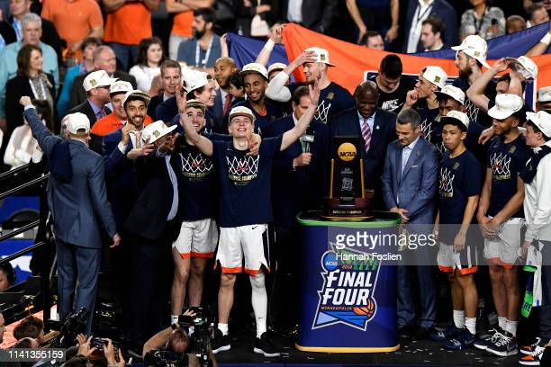 Kyle Guy of the Virginia Cavaliers celebrates with his team after their 8577 win over the Texas Tech Red Raiders to win the the 2019 NCAA men's Final...