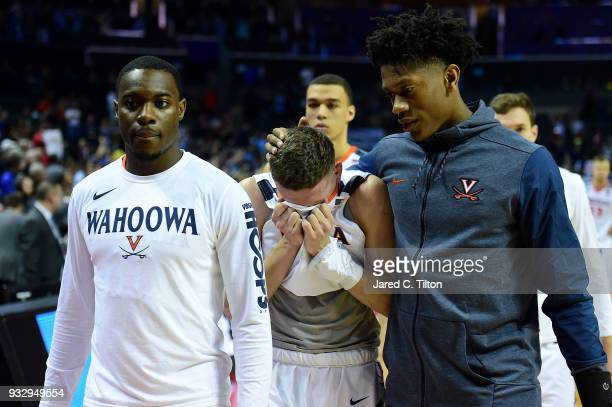 Kyle Guy of the Virginia Cavaliers exits the court after their 7454 loss to the UMBC Retrievers during the first round of the 2018 NCAA Men's...