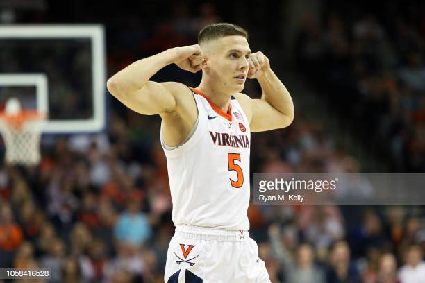 Kyle Guy of the Virginia Cavaliers flexes in the first half during a game against the Towson Tigers at John Paul Jones Arena on November 6 2018 in...