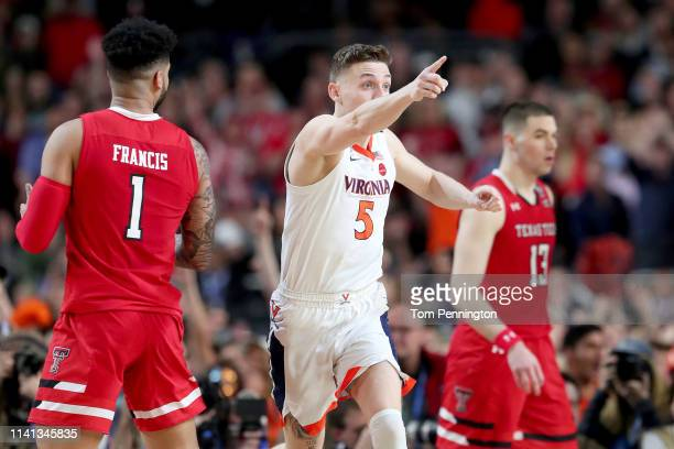 Kyle Guy of the Virginia Cavaliers reacts against the Texas Tech Red Raiders in the second half in the second half during the 2019 NCAA men's Final...