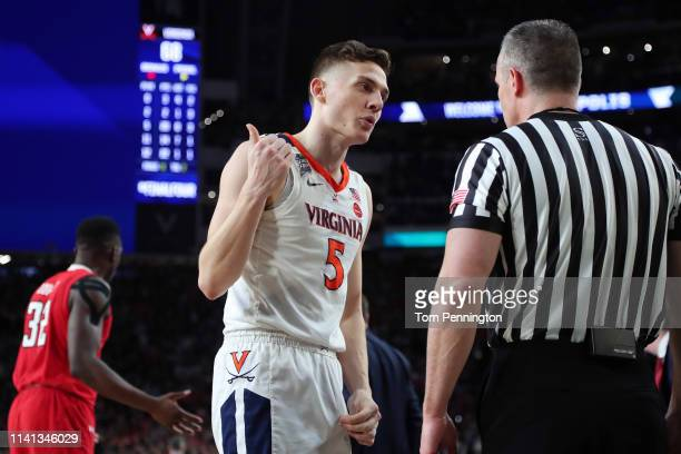 Kyle Guy of the Virginia Cavaliers reacts against the Texas Tech Red Raiders during the 2019 NCAA men's Final Four National Championship game at US...