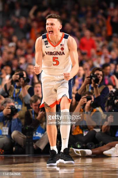 Kyle Guy of the Virginia Cavaliers reacts to a basket during the second half in the 2019 NCAA Photos via Getty Images men's Final Four National...