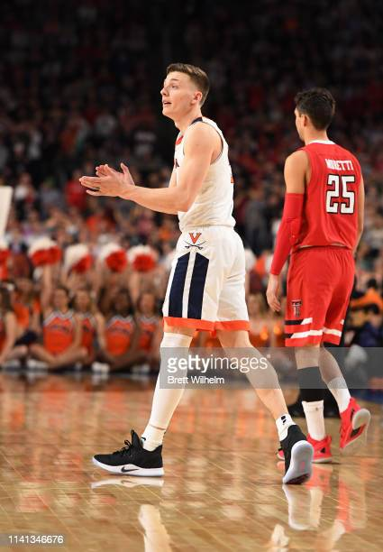 Kyle Guy of the Virginia Cavaliers reacts to a play against the Texas Tech Red Raiders during the second half of the 2019 NCAA men's Final Four...