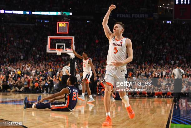 Kyle Guy of the Virginia Cavaliers reacts to winning the semifinal game in the NCAA Photos via Getty Images Men's Final Four at U.S. Bank Stadium on...