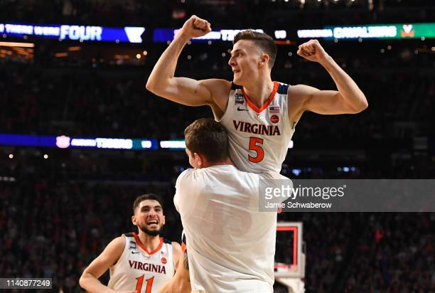 Kyle Guy of the Virginia Cavaliers reacts to winning the semifinal game in the NCAA Photos via Getty Imagess via Getty Images Men's Final Four at US...