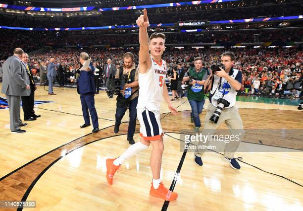 Kyle Guy of the Virginia Cavaliers reacts to winning the semifinal game in the NCAA Men's Final Four at US Bank Stadium on April 06 2019 in...