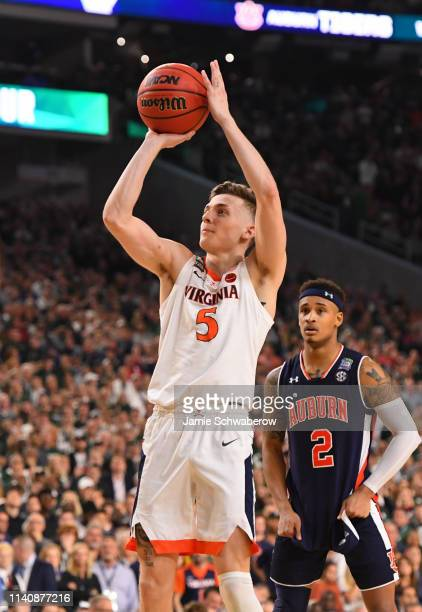 Kyle Guy of the Virginia Cavaliers shoots a free throw during the second half of the semifinal game in the NCAA Men's Final Four at US Bank Stadium...